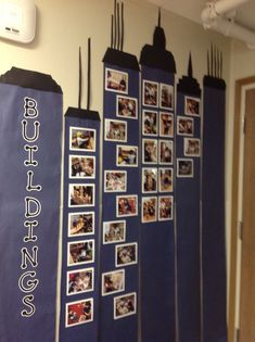 Our building theme lent itself to showcasing our students buildings in a unique way. We photographed their Lego, block, etc. buildings and displayed those photographs as windows on skyscrapers. Design by Nidya Solano. Creative Curriculum Preschool, Preschool Education, Preschool Lessons, Preschool Classroom, In Kindergarten, Block Center Preschool, Preschool Centers, Preschool Themes, Preschool Activities