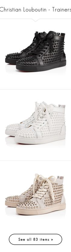 """Christian Louboutin - Trainers"" by enchantedxox ❤ liked on Polyvore featuring shoes, flats, sneakers, black spiked flats, black flat shoes, spike flat shoes, kohl shoes, black spiked shoes, christian louboutin and louboutin"