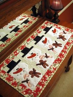 snowman table runner A revised version of this would be nice for Dec and Jan on my table