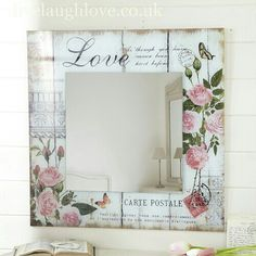 decopodge Carte Postale Square MIRROR -Love Shop for beautiful shabby chic accessories, vintage furnishings and country accessories for the home. Decoupage Furniture, Decoupage Art, Decoupage Vintage, Painted Furniture, Decoupage Ideas, Shabby Chic Crafts, Vintage Shabby Chic, Shabby Chic Decor, Shabby Chic Mirror