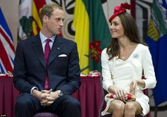 Canada 2011. The Duke and Duchess of Cambridge chat during a citizenship ceremony: Kate's brooch was borrowed from the Queen