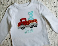 Firetruck Birthday shirt, Available in ALL Number or Letters