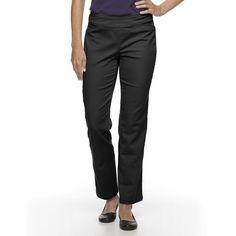 Petite Croft & Barrow® Perfectly Slimming Straight-Leg Pants, Women's, Size: 14 Short, Black
