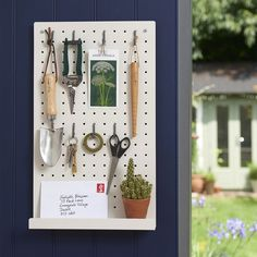 We have sung the praises of peg boards many a time for kitchens and home offices, and they are just as handy as garden shed storage. Shed Storage Solutions, Storage Ideas, Storage Systems, Tool Storage, Shed Shelving, Metal Pegboard, Period Living, Sage Color, Home Fix