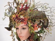 Headdress Blumen- WaldFee, Gehörnte, Blütenkrone