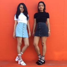 Hira and Anasha in the Knitted Classic Crop Top and the Button Front Denim A-Line Skirt.