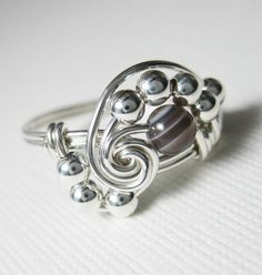 Pi  Wire Wrapped Ring Botswana Agate and Sterling by holmescraft, $24.00