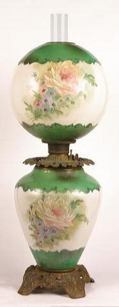 Parlor Lamp; Gone with the Wind, Rose Motif, 30 inch.