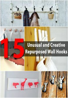 Unusual and Creative Repurposed Wall Hooks - Need a place to hang all your s. 15 Unusual and Creative Repurposed Wall Hooks - Need a place to hang all your s. Diy Clothes Hooks, Diy Wall Hooks, Fun Diy Crafts, Recycled Crafts, Decor Crafts, Creative Walls, Creative Ideas, Mason Jar Centerpieces, Repurposed Items