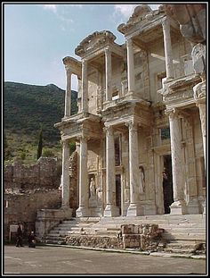 Library of Celsus in the ancient city of Ephesus, Turkey.  This is near the modern-day city of Selcuk, which is part of the Izmir Province on the western coast of the country.