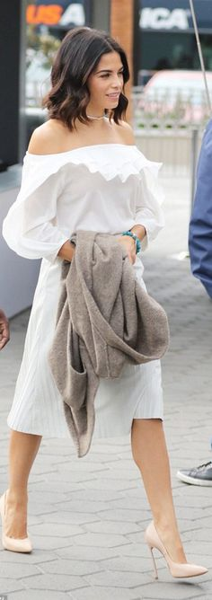 Who made Jenna Dewan Tatum's nude pumps, pleated skirt, and off the shoulder ruffle dress?
