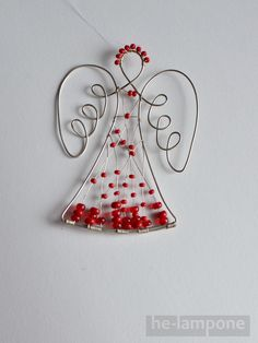think hour glass Wire Ornaments, Christmas Ornaments To Make, Angel Ornaments, Christmas Love, Christmas Angels, Christmas Stockings, Diy Angels, Beaded Angels, Wire Crafts