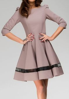 Khaki Patchwork Grenadine Pleated Elbow Sleeve Dress - Mini Dresses - Dresses