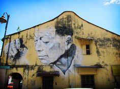 A wall mural spotted at an old building located at the centre of George Town Heritage Zone in Penang. George Town, Street Art, Street View, Old Building, Small Island, Borneo, Wall Murals, Buildings, Asia