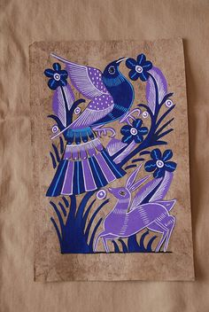 Mexican bark painting with bird Amate Painting from Guerrero, Mexico Mexican Artwork, Mexican Paintings, Indian Art Paintings, Abstract Paintings, Indian Folk Art, Mexican Folk Art, Pintura Tribal, Monochromatic Art, Kalamkari Painting