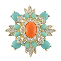 Kenneth Jay Lane Coral Turquoise Brooch