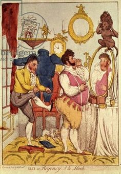 Regency a la Mode, cartoon, 1812 Could the portly man being corseted be the King?  Well maybe just.