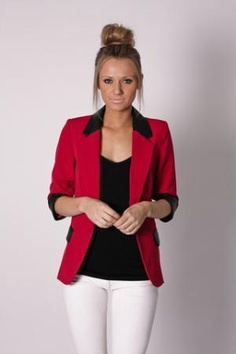 White pants w/ black top and colored blazer + updo