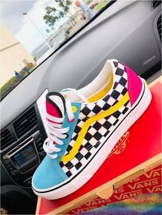 """slot how to order I like these slot how to order Old Skool CMYK Chex Vans 51 Comfy Shoes To Add To Your Wardrobe 46 Everyday Shoes For Starting Your Winter Just read my boiiisss.and gurllllllssss❤️ - Vans Old Skool """"Pastels"""" Outfits With Vans, Vans Shoes Fashion, Nike Fashion, Basket Style, Custom Vans Shoes, Custom Painted Shoes, Cute Vans, Aesthetic Shoes, Hype Shoes"""