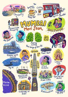 Mumbai meri jaan Art Print by Chaitanya Limaye - X-Small India Poster, Indian Illustration, Mumbai City, Art Optical, Quirky Art, Madhubani Art, Indian Art Paintings, Cool Art Drawings, Cute Doodles