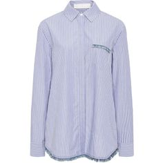 Thakoon Addition Striped Cotton Shirt with Fringed Detail (€315) ❤ liked on Polyvore featuring tops, long sleeve cotton shirt, longsleeve shirt, print shirts, long sleeve stripe shirt and striped long sleeve shirt