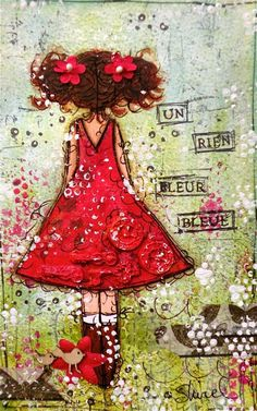 Girl in red dress mixed media