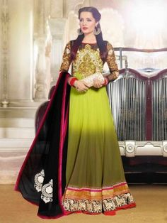 Green Georgette Anarkali Suit With Embroidery Work www.saree.com