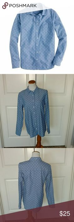 J.Crew Blue Polka Dot Chambray Shirt J.Crew Blue Polka? Dot Chambray Shirt. Style is Boy. Size 10. J. Crew Tops Button Down Shirts