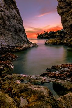 Sunset in Cave by Lou Lu on 500px; Pismo Beach, California