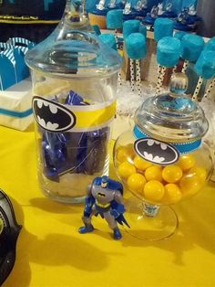 Fun themed candies at a Batman birthday!    See more party ideas at CatchMyParty.com!  #superhero #partyideas