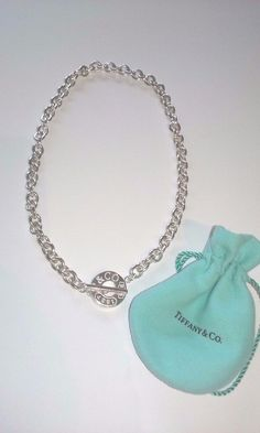 Tiffany & Co. Sterling Silver 1837 Circle Clasp Toggle 2.2 oz Necklace Box Pouch #TiffanyCo #Chain