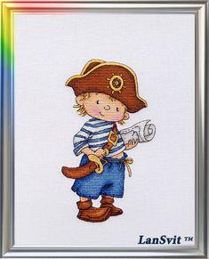 Types of stitches: a cross stitch, petite stitch, back stitch, french knot; The cross stitch kit. Cross Stitch Sea, Cross Stitch For Kids, Cute Cross Stitch, Cross Stitch Kits, Cross Stitch Patterns, Cross Stitching, Cross Stitch Embroidery, Pirate Art, Cross Stitch Pictures