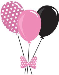 Imagem balões Minnie rosa, Papel digital Minne rosa, aniversário Minnie Rosa, Personalizados Minnie