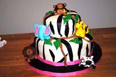Safari Theme Baby Shower Cake - Girl    TimelessTreasure.theaspenshops