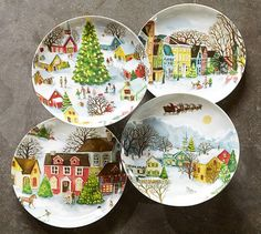 Winter Village Plates, Set of 4, benefiting Give a Little Hope campaign   Pottery Barn