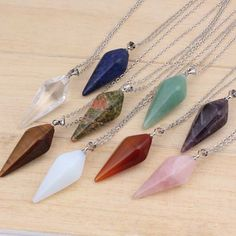 Natural Gem Stone Hexagon Pyramid Reiki Pendulum Pendant Charms Healing Chakra Amulet European Fashionable Jewelry 9X Mix Order
