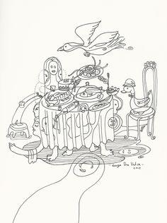 SOBREMESA. Grafito y plumón sobre papel. Herza Du Valca 2015.