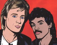 Hall & Oates by turddemon on Etsy (Art & Collectibles, Prints, outsider, graphic, portrait, painting, 70s, art, soul, rock, rich girl, maneater, legends, 80s, pop art)