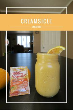 Creamsicle Smoothie recipe with Emergen-C from Walgreens Homemade Smoothies, Best Smoothie Recipes, Good Smoothies, Homemade Desserts, Shake Recipes, Detox Recipes, Vitamin C Drinks, Yummy Treats, Delicious Desserts