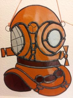 Uniqe Stained glass diving helmet by designed Glass Gifts Garioch