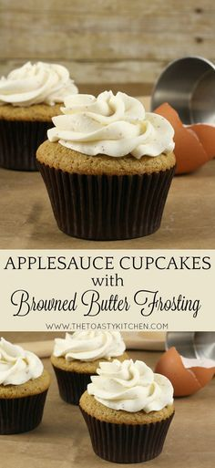 Applesauce Cupcakes with Browned Butter Frosting by The Toasty Kitchen