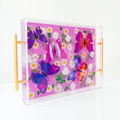 Pastel purple tray with purple and pink tray with white flowers. Great cocktail tray or living room tray for papers and decor accessories Bar Tray, Coffee Table Tray, Trays, Pastel Purple, Pink, Purple Interior, Purple Butterfly, Purple Backgrounds, Clear Resin