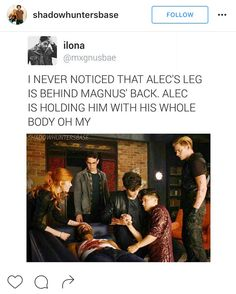 Have is just looking at Alec and is thinking Omg Alec is gay