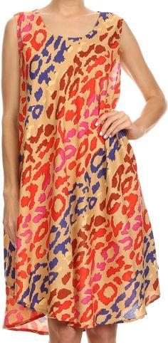Sakkas Spal Mid Length Scoop Neck Tank Top Printed Batik Caftan Dress / Cover Up