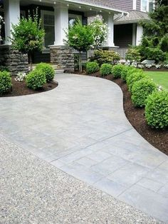 Inspiring Landscaping Ideas - Beneath My Heart Love the shape of this sidewalk! Maybe for our new front walk.