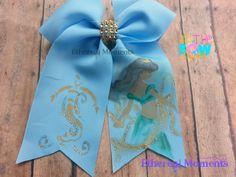 Aladdin, Genie, Jasmine handpainted cheer hair bow https://www.facebook.com/etherealmoments