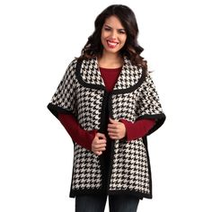 Live A Little Black-and-White Women's Bound-Edge Cape - Overstock™ Shopping - Top Rated Live A Little Jackets