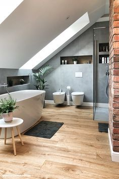 best attic bathroom design ideas you have to see page 37 Modern Bathroom Design, Bathroom Interior Design, Interior Design Living Room, Interior Decorating, Bathroom Designs, Interior Livingroom, Interior Colors, Apartment Interior, Kitchen Interior