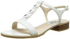 Clarks Bliss Shimmer, Damen T-Spangen Sandalen, Weiß (White Leather), 41.5 EU (7.5 Damen UK) - http://uhr.haus/clarks/clarks-bliss-shimmer-damen-t-spangen-sandalen-41-5