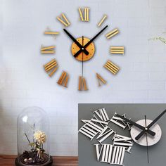 2014 New arrival Hot Sale DIY Luxury 3D Wall Clock Large Size Surface Home Decoration Art Clock Free Shipping & Wholesale Feida